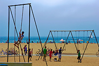 Santa Monica, CA, Exercising, Climbing Rope, Rings, Walking, playing, Beach, sand, Holiday, California, USA,