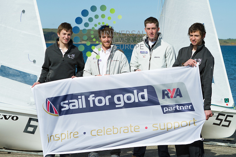 2012 Olympic sailor Luke Patience is back in Scotland to launch the 2012 470 European Sailing Championships at Largs and to urge young sailors to live the dream.This years Championships are being held between 25th June - 4th July 2012. (left to right) Calum Airlie , Luke Patience, David Kohler and Dew Airlie...29th April 2012 Picture: Steven Scott Universal News And Sport (Europe)
