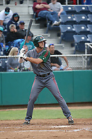 Sean Bouchard (6) of the Boise Hawks bats against the Everett AquaSox at Everett Memorial Stadium on July 20, 2017 in Everett, Washington. Everett defeated Boise, 13-11. (Larry Goren/Four Seam Images)