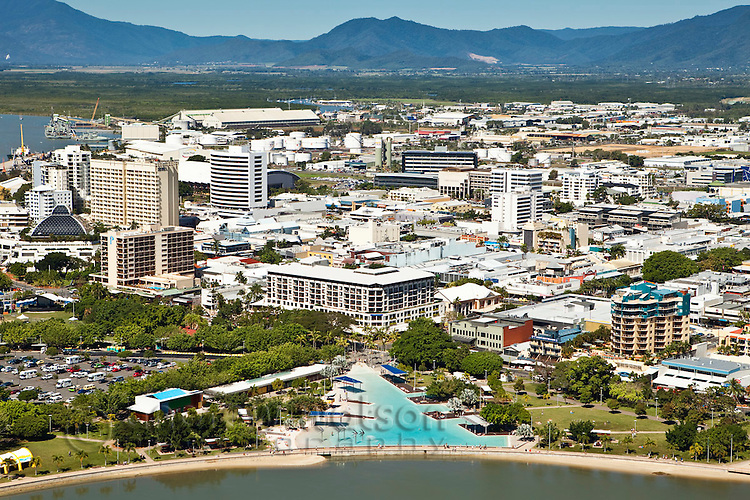 Aerial view of esplanade lagoon and city centre.  Cairns, Queensland, Australia