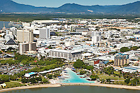 Aerial view of esplanade lagoon and city centre.  Cairns, Queensland, Australia
