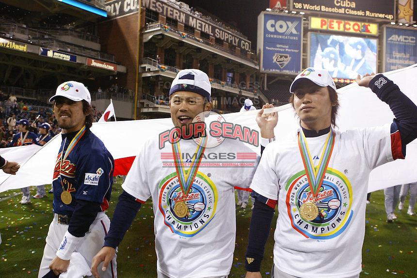 Michihiro Ogasawara,Toshiaki Aoki, Norichika Aoki of Japan during World Baseball Championship at Petco Park in San Diego,California on March 20, 2006. Photo by Larry Goren/Four Seam Images