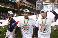 Michihiro Ogasawara,Toshiaki Aoki, Norichika Aoki of Japan during World Baseball Championship at Petco Park in San Diego,California on March 20, 2006. Photo by Larry Goren/Four Seam Images