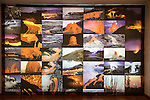 Display photos of volcanoes, Casa de los Volcanes volcanic study centre, Lanzarote, Canary island, Spain