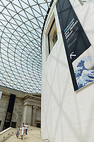 "Central Hall of the British Museum, London, UK, June 21, 2017. ""Hokusai: beyond the Great Wave"" was an exhibition of the works of the ukiyoe woodblock print artist Katsushika Hokusai (1760-1849), held at the British Museum in London from 25 May to 13 August 2017. It focused on works from the last 30 years of the artist's life."