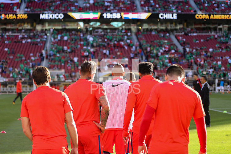 Santa Clara, CA - Saturday June 18, 2016: Chile warms up during a Copa America Centenario quarterfinal match between Mexico (MEX) and Chile (CHI) at Levi's Stadium.