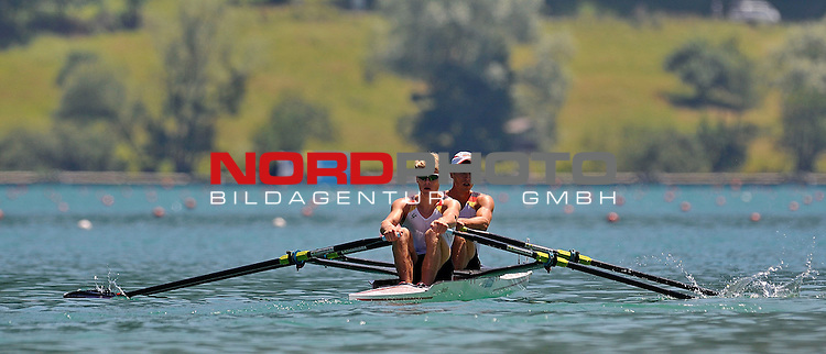 21 June,2014. World Cup Rowing, Aiguebelette, France. Peter Kluge and Alexander Egler in action.<br /> <br /> Foto &copy; nph / Pier Paolo Piciucco