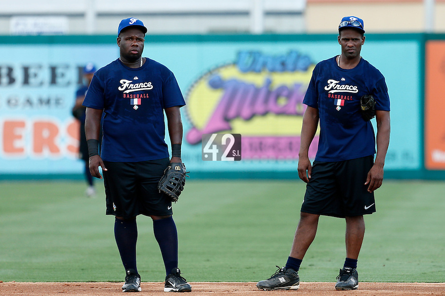 18 September 2012: France Rene Leveret and Sneideer Santos are seen during Team France practice, at the 2012 World Baseball Classic Qualifier round, in Jupiter, Florida, USA.