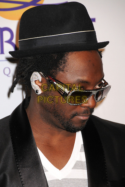 WILL.I.AM. - BLACK EYED PEAS.Clive Davis 2008 Pre-Grammy Awards Party at the Beverly Hilton Hotel, Beverly Hills, California, USA..February 9th, 2008.headshot portrait william sunglasses shades hat facial hair beard ear bling jewellery jewelry .CAP/ADM/BP.©Byron Purvis/Admedia/Capital Pictures
