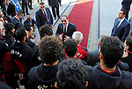 Egyptian President Abdel Fattah al-Sisi meets with Egyptian national football team upon their arrival at Cairo international airport after their participation in Africa Cup of Nations (CAN) which held in Gabon, in Cairo, Egypt, on February 6, 2017. Cameroon beat Egypt 2-1 to snatch the winner's trophy. Photo by Egyptian President Office