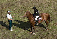 02 JUN 2008 - BUDAPEST, HUN - Naciely Anton (MEX) gets to know her horse for the riding - Modern Pentathlon Team Relay World Championships. (PHOTO (C) NIGEL FARROW)