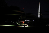 Marine One carrying United States President Donald J. Trump arrives on the South Lawn of the White House after a trip to Louisiana on May 14, 2019 in Washington, DC.<br /> Credit: Oliver Contreras / Pool via CNP