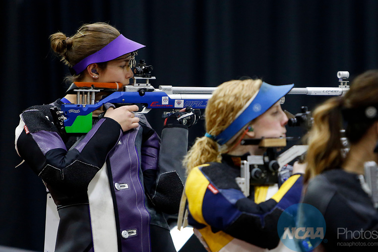 COLUMBUS, OH - MARCH 11:  Mindy Miles, of Texas Christian University, competes during the Division I Rifle Championships held at The French Field House on the Ohio State University campus on March 11, 2017 in Columbus, Ohio. Miles finished fourth in the individual championship with a score of 164.6. (Photo by Jay LaPrete/NCAA Photos via Getty Images)