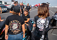 Sep 1, 2019; Clermont, IN, USA; NHRA pro stock motorcycle rider Jianna Salinas during qualifying for the US Nationals at Lucas Oil Raceway. Mandatory Credit: Mark J. Rebilas-USA TODAY Sports