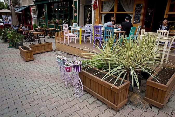 Die Cafés und Straßen sind sonst immer belebt und voll gewesen in Cengelköy. / Seit dem Putschversuch bleiben viele Kunden aus, die Cafés bleiben leer.