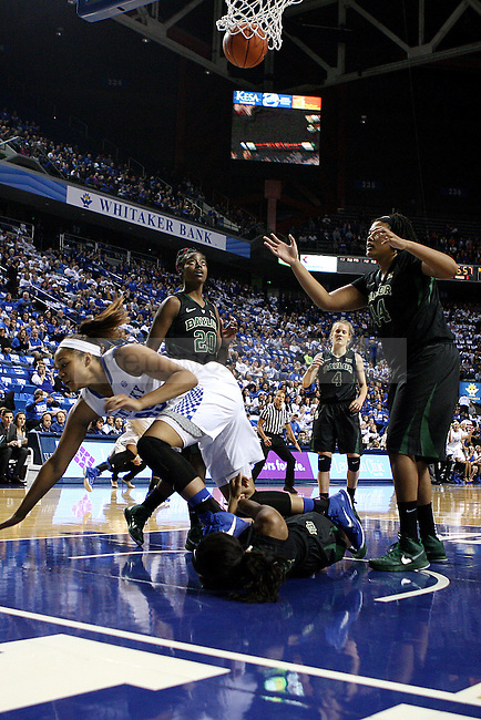 Kentucky Center Alyssa Rice scores during the first half against the Baylor Bears at Rupp Arena in Lexington, Ky., on Monday, November 17, 2014.  Baylor leads 34-24. Photo by Caleb Gregg | Staff.