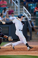 Jackson Generals center fielder Evan Marzilli (45) follows through on a swing during a game against the Chattanooga Lookouts on April 29, 2017 at The Ballpark at Jackson in Jackson, Tennessee.  Jackson defeated Chattanooga 7-4.  (Mike Janes/Four Seam Images)