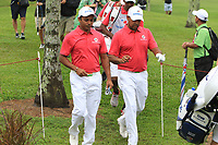 SSP Chawrasia (Asia) and Anirban Lahiri (Asia) walking to the 2nd tee during the Friday Foursomes of the Eurasia Cup at Glenmarie Golf and Country Club on the 12th January 2018.<br /> Picture:  Thos Caffrey / www.golffile.ie