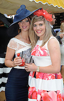 Pictured enjoying the summer fayre on the Ross Hotel / Lane Bar Champagne &amp; Cocktail Marquee at Killarney Races ladies Day on Thursday were from left, Marie Vaughan, macroom and Claire Ambrose, Macroom.<br /> Picture by Don MacMonagle<br /> <br /> <br /> PR Photo from Ross Hotel