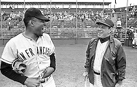 San Francisco slugger Willie Mays shares a laugh with his first manager Leo Durocher now manager of the Chicago Cubs before catcus league game in 1968..(photo by Ron Riesterer)
