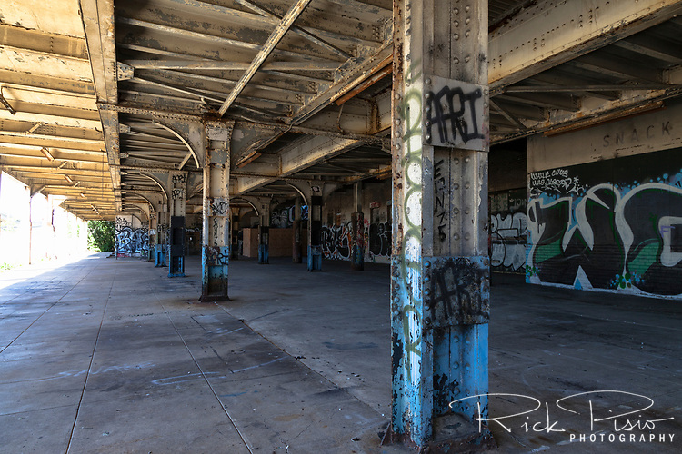 The platform of the abandoned railway station on 16th St. in Oakland, California, that was built built in 1912 for the Southern Pacific Railroad and later used by Amtrak.