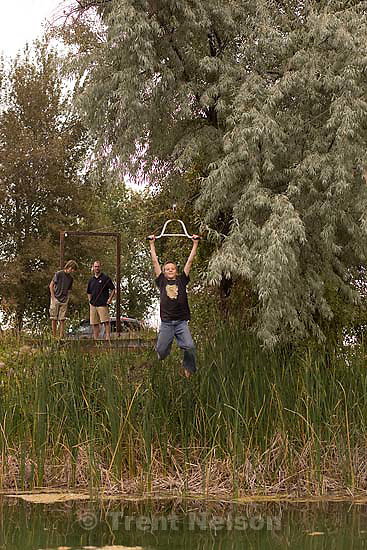 At the Godfrey's Sunday, September 13 2009 in Rexburg. noah nelson, nathaniel on zip line. vince robinson