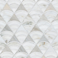 Lucet, a waterjet and hand-cut mosaic, shown in honed Angora, honed Afyon White, and tumbled Thassos, is part of the Bright Young Things collection by New Ravenna, is part of the Bright Young Things™ collection by New Ravenna.