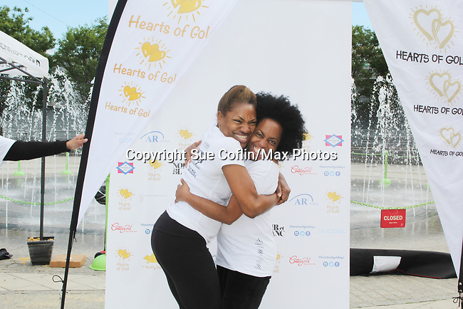 Founder Deborah Koenigsberger and Another World's and singer Rhonda Ross sang the National Anthem  - Hearts of Gold 7th Annual Run/Walk for Kids with proceeds from this fun family event will change the futures of homeless mothers and their children on June 3, 2017 at Pier 84 Hudson Parks, New York City, New York. It supports Hearts of Gold Annual Back to School Programs. (Photo by Sue Coflin/Max Photos)