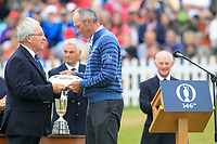 Matt Kucher (USA) being presented with the silver salver after the final round of The Open Championship 146th Royal Birkdale, Southport, England. 23/07/2017.<br /> Picture Fran Caffrey / Golffile.ie<br /> <br /> All photo usage must carry mandatory copyright credit (&copy; Golffile | Fran Caffrey)