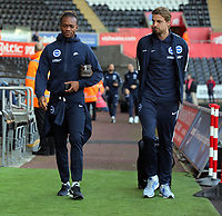 (L-R) Gaetan Bong of Brighton and Tim Krul arrive prior to the game during the Premier League match between Swansea City and Brighton and Hove Albion at The Liberty Stadium, Swansea, Wales, UK. Saturday 04 November 2017