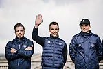 Philippoe Gilbert (BEL) and Zdenek Stybar (CZE) Deceuninck-Quick Step at the team presentations in Compiegne before Paris-Roubaix 2019, Compuiegne, France. 13th April 2019<br /> Picture: ASO/Pauline Ballet | Cyclefile<br /> All photos usage must carry mandatory copyright credit (&copy; Cyclefile | ASO/Pauline Ballet)