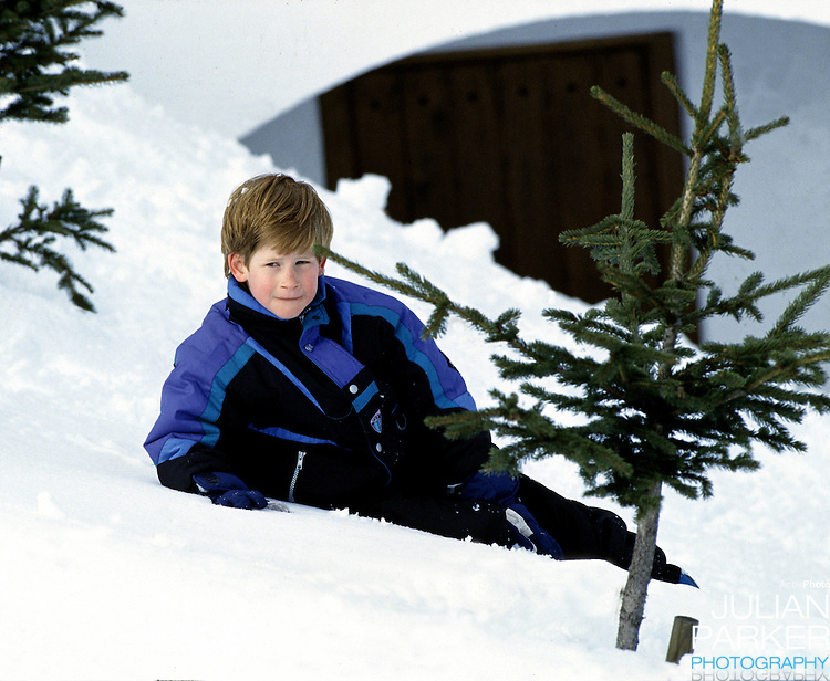 Prince Harry, in Lech, Austria, on a ski holiday with his mother The Princess of Wales, and brother, Prince William