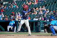 Frisco RoughRiders Eliezer Alvarez (10) bats during a Texas League game against the Amarillo Sod Poodles on May 19, 2019 at Dr Pepper Ballpark in Frisco, Texas.  (Mike Augustin/Four Seam Images)