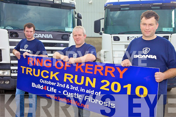 TRUCKERS: Preparing for the Ring of Kerry Truck Run in aid of Cystic Fibrosis and Build 4 Life, l-r: John O'Sullivan, Tony Nolan. Ger Culloty.