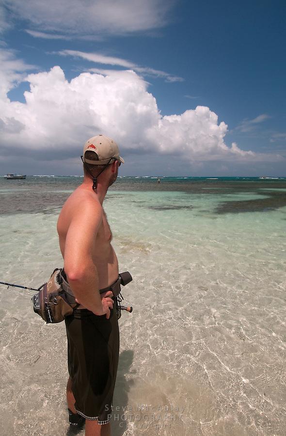 "Fly fishing on the ""Flats"", Big Corn Island, Nicaragua"
