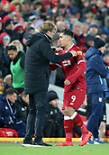 17th March 2018, Anfield, Liverpool, England; EPL Premier League football, Liverpool versus Watford; Roberto Firmino of Liverpool is embraced by Jurgen Klopp, Liverpool manager as he is substituted late in the second half