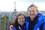 John and Beth and the Eiffel Tour from the top of the Arc de Triomphe, Paris, France