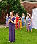 Old Westbury, New York, USA. 28th June 2015. Lori Belilove & The Isadora Duncan Dance Company perform on the South Lawn in front of the Mansion of historic Old Westbury Gardens, a Long Island Gold Coast estate, for its Midsummer Night event. Miss Belilove is at left in a purple Renaissance themed tunic.