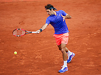 France, Paris , May 27, 2015, Tennis, Roland Garros, Roger Federer (SUI)<br /> Photo: Tennisimages/Henk Koster