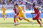 Tom Rogic of Australia (L) is followed by Abdallatif Albahdari of Palestine (R) during the AFC Asian Cup UAE 2019 Group B match between Palestine (PLE) and Australia (AUS) at Rashid Stadium on 11 January 2019 in Dubai, United Arab Emirates. Photo by Marcio Rodrigo Machado / Power Sport Images