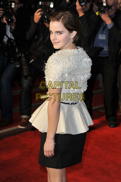 Emma Watson.'My Week With Marilyn' UK Premiere, Cineworld, Haymarket, London, England. .20th November 2011.half length white top black skirt belt looking over shoulder beads beaded   .CAP/MAR.© Martin Harris/Capital Pictures.