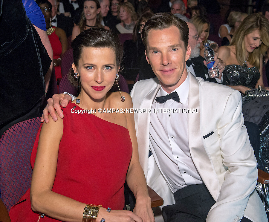 22.02.2015; Hollywood, California: 87TH OSCARS - BENEDICT CUMBERBATCH and SOPHIE HUNTER<br /> during the Annual Academy Awards Telecast, Dolby Theatre, Hollywood.<br /> Mandatory Photo Credit: NEWSPIX INTERNATIONAL<br /> <br />               **ALL FEES PAYABLE TO: &quot;NEWSPIX INTERNATIONAL&quot;**<br /> <br /> PHOTO CREDIT MANDATORY!!: NEWSPIX INTERNATIONAL(Failure to credit will incur a surcharge of 100% of reproduction fees)<br /> <br /> IMMEDIATE CONFIRMATION OF USAGE REQUIRED:<br /> Newspix International, 31 Chinnery Hill, Bishop's Stortford, ENGLAND CM23 3PS<br /> Tel:+441279 324672  ; Fax: +441279656877<br /> Mobile:  0777568 1153<br /> e-mail: info@newspixinternational.co.uk