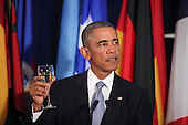 United States President Barack Obama makes remarks as he offers a toast as he attends a luncheon hosted by United Nations Secretary-General Ban Ki-moon at the United Nations 69th General Assembly. <br /> Credit: Allan Tannenbaum / Pool via CNP