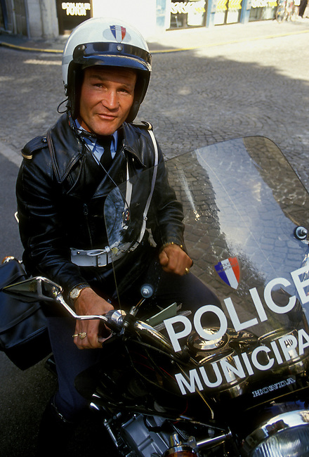 Motorcycle police, policeman, Basque region, city of Bayonne, Aquitaine, France, Europe.