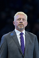 Boris Becker as he watches the ceremony during the NiTTO ATP World Tour 2017 FINAL's Day at the O2, London, England on 19 November 2017. Photo by Andy Rowland.