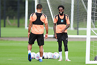 Wayne Routledge (left) and Nathan Dyer (right) of Swansea City in action during the Swansea City Training Session at The Fairwood Training Ground, Wales, UK. Tuesday 11th September 2018