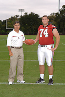 7 August 2006: Stanford Cardinal head coach Walt Harris and Bert McBride during Stanford Football's Team Photo Day at Stanford Football's Practice Field in Stanford, CA.