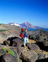 Teenage backpacker. Tam Macarthur Rim, Three Sisters Wilderness, Oregon.