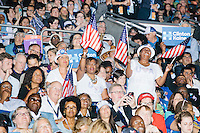 People cheer during a speech before President Barack Obama's speech at the Democratic National Convention at the Wells Fargo Center in Philadelphia, Pennsylvania, on Wed., July 27, 2016.