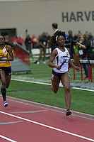 After running past a Johnson C. Smith runner, Lincoln anchor Vinecha Baker sprints to the finish line to win the 4x400 relay and give the Lady Blue Tigers the national team championship by 2 points at the NCAA Division II Indoor Track and Field Championships in Pittsburg, Ks, Saturday. Lincoln finished the race in 3:38.87 to set the meet record, breaking it's own mark of 3:39.24 from 1997.